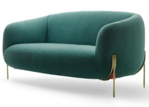 Gold stainless steel legs green velvet upholstered loveseat sofa