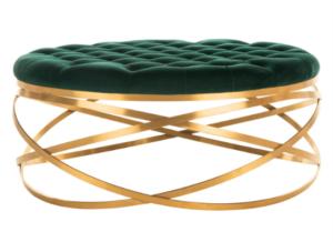 Brass gold stainless steel  frame green velvet tufted upholstered round ottoman stool