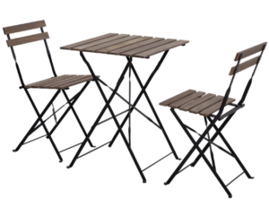 Garden wooden bistro folding chair and table set