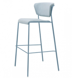 Powder coated metal legs velvet upholstered bar chair