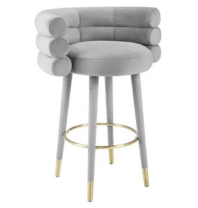 Modern design metal frame gray velvet counter height barstool