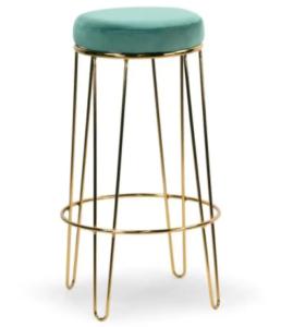 Golden metal frame green velvet seat pad bar stool