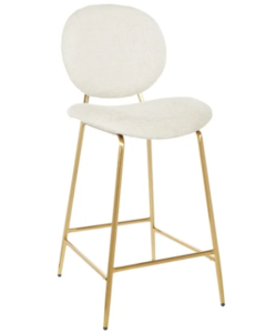 Gold metal frame white fabric upholstered count height barstool