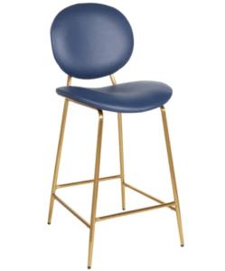 Bar furniture gold metal frame blue PU count height barstool