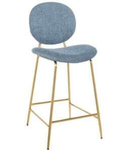 Gold metal frame blue linen fabric upholstered count height barstool