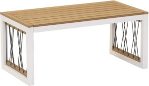 Garden furniture white aluminum frame plastic wood rope coffee table