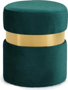 Brass Gold Stainless Steel Ring Velvet Round Ottoman Stool