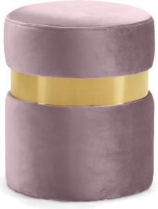 Brass Gold Stainless Steel Ring Pink Velvet Round Ottoman Stool
