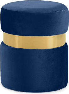 Brass Gold Stainless Steel Ring Navy Blue Velvet Round Ottoman Stool