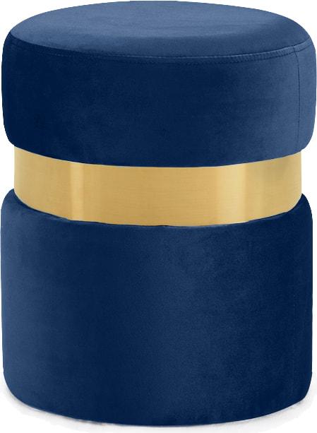 Golden base white marble velvet round ottoman stool
