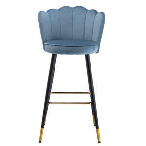 Black metal frame legs velvet fabric bar stool