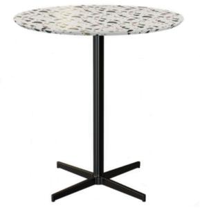 Terrazzo top black metal base round dining table