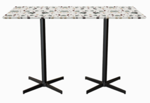 Terrazzo top black metal base rectangle dining table for 4 person seating