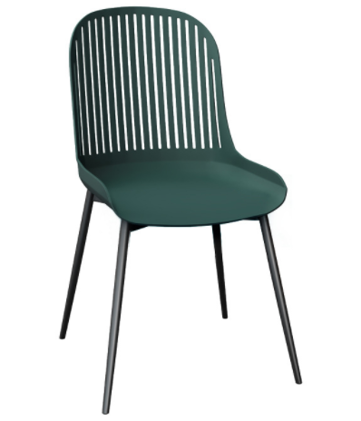 Black metal legs green plastic dining chair