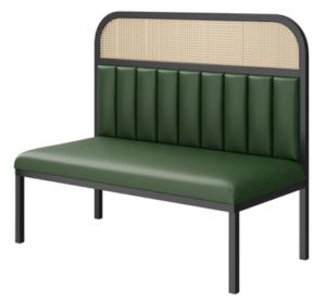 Restaurant furniture wooden frame cane back PU upholstered restaurant booth seating