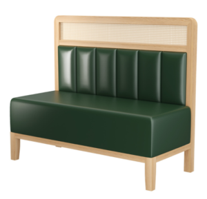 Wooden frame cane back green PU upholstered restaurant booth seating