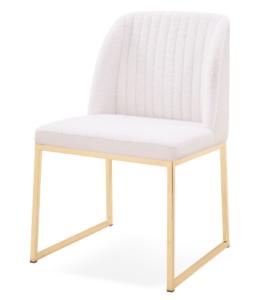 Golden stainless steel frame fabric upholstered modern dining chair