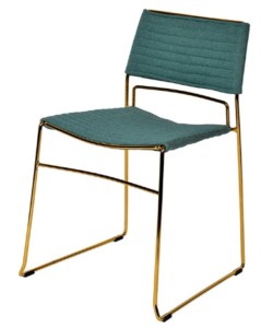 Gold metal wire stackable green fabric modern dining chair