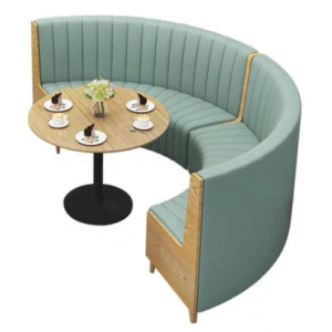 Restaurant furniture wooden frame green PU leather upholstered half-round booth seating