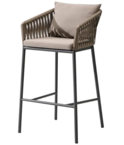 Garden furniture aluminum frame rope weaving bar chair