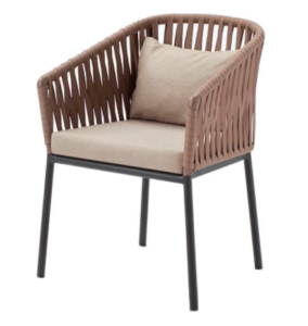 Garden furniture aluminum frame brown rope weaving dining chair