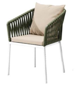 Garden furniture aluminum frame green rope weaving dining chair