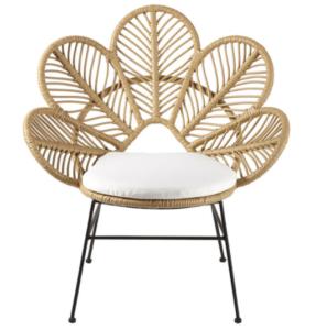 Garden furniture aluminum frame natural PE wicker rattan peacock chair