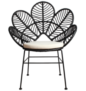Garden furniture aluminum frame black PE wicker rattan peacock chair