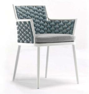Garden furniture aluminum frame blue rope weaving dining chair