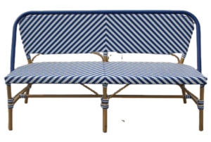 Outdoor furniture french bistro aluminum frame rattan bench chair