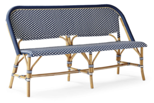 Outdoor french bistro rattan bench chair