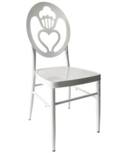 New design white aluminum heart shape back event wedding chair