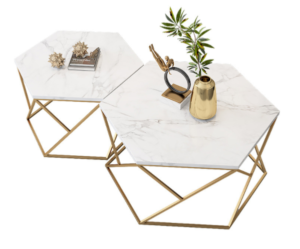 Golden stainless steel frame white marble top coffee table set