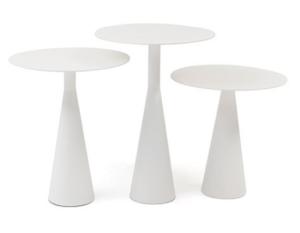 Garden furniture white aluminum round side table set