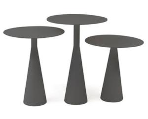 Garden furniture dk gray aluminum round side table set