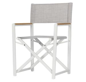 Garden chair white aluminum frame texiline fabric folding director chair