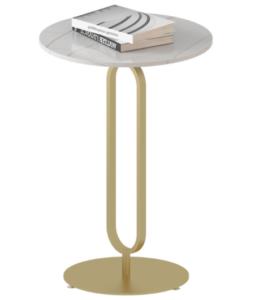 Golden frame white marble top side table