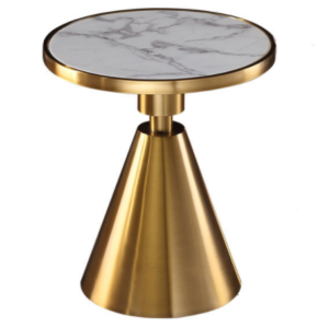 Golden stainless steel base white marble top round side table