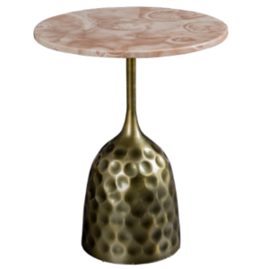 Hot sale pink marble top metal base side table