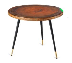 Brown wooden top metal legs coffee table