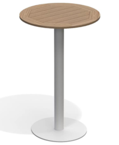 White aluminum base teak wood top round bar table
