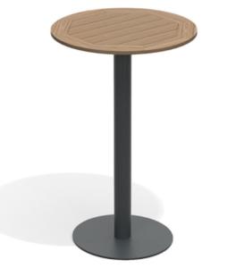 Black aluminum base teak wood top round bar table