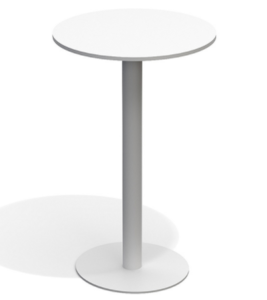 Full aluminum with white powder coating round bar table