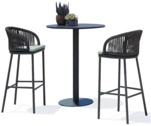 Aluminum frame black rope weaving outdoor bar chair