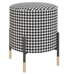 Wholesale black metal legs fabric round ottoman stool
