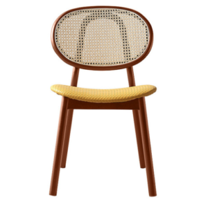Ashwood frame in walnut cane back PU leather upholstered dining chair