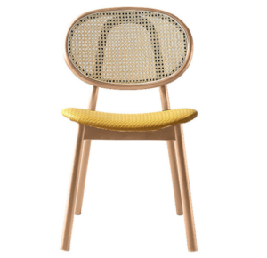 Natural wooden frame cane back PU leather upholstered dining chair
