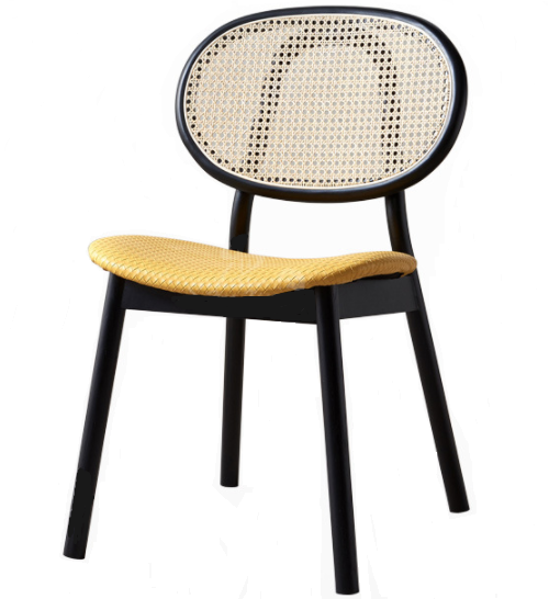 Black wooden frame cane back PU leather upholstered dining chair