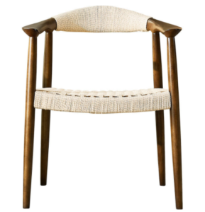Ash wood frame with rope weaving armchair