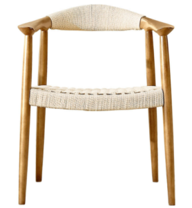 Natural ash wood frame with rope weaving armchair